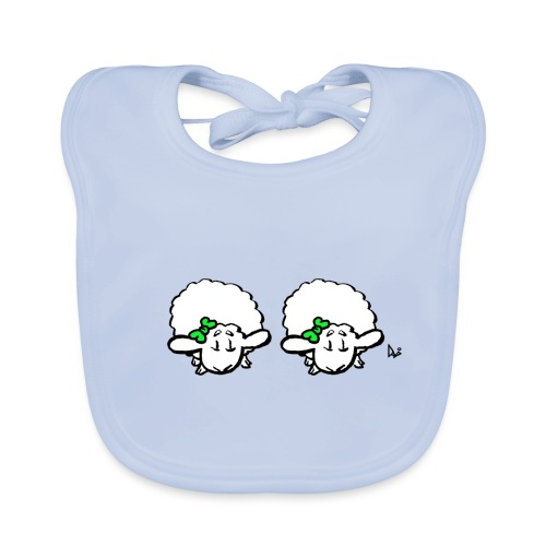 Baby Lamb Twins (grön & grön) - Ekologisk babyhaklapp