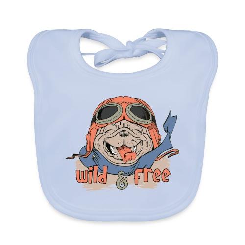 Wild & Free: Happy Pug Flier Freedom - Baby Organic Bib
