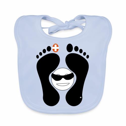 Barfuss-Logo mit coolem Smile - Baby Bio-Lätzchen