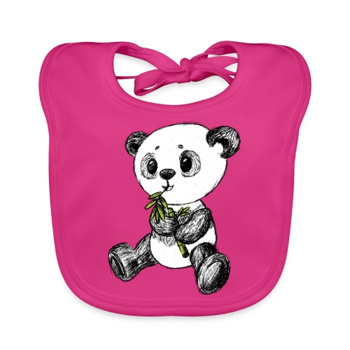 Panda bjørn farvet scribblesirii - Baby økologisk hagesmæk