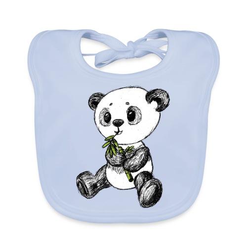 Panda bjørn farvet scribblesirii - Hagesmække af økologisk bomuld