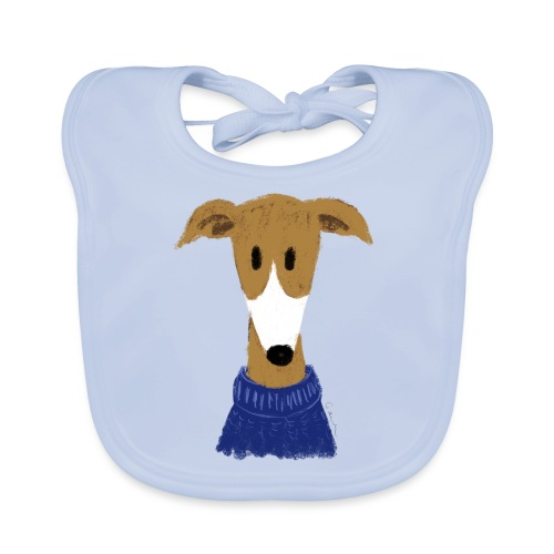 Windhund in blauem Pulli - Baby Bio-Lätzchen