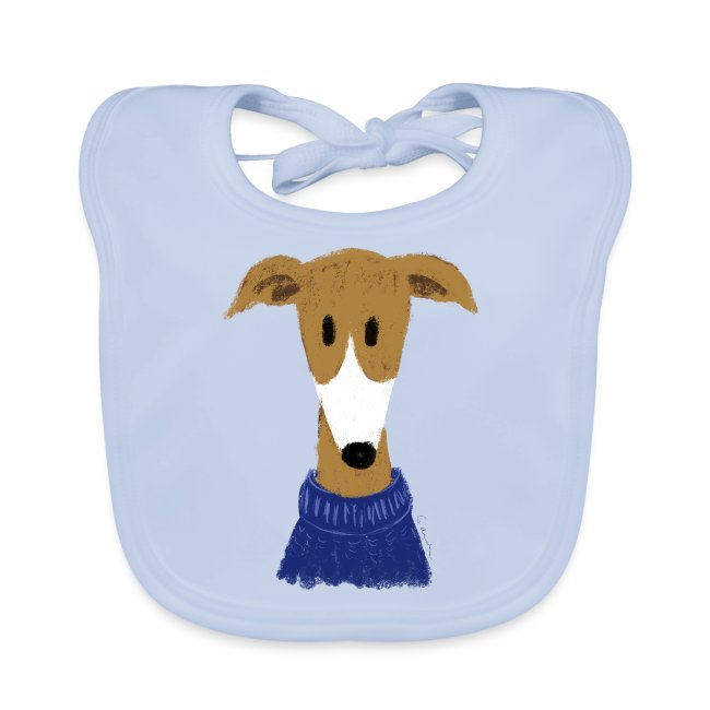 Windhund in blauem Pulli