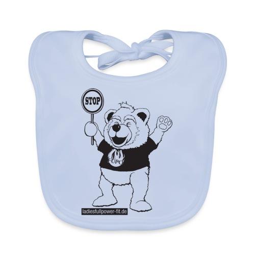 FUPO der Bär. Druckfarbe schwarz - Baby Bio-Lätzchen