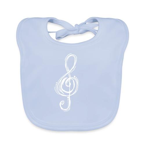 Violinschlüssel weiß - Baby Bio-Lätzchen