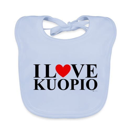 I LOVE KUOPIO (koko teksti, musta) - Vauvan luomuruokalappu