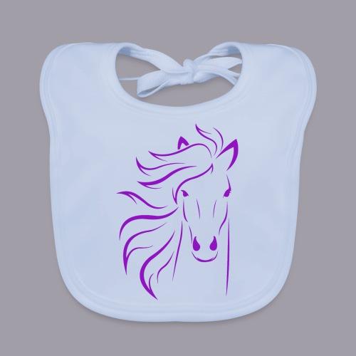 Pferd in einem LilaPink Farbton - Baby Bio-Lätzchen