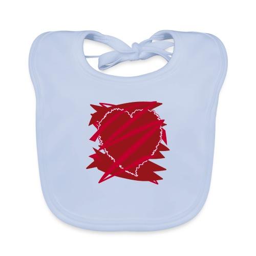 corazón enamorado, corazón roto - Babero de algodón orgánico para bebés