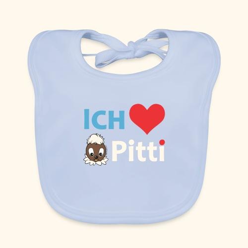Pittiplatsch Ich liebe Pitti auf dunkel (blau/crem - Baby Bio-Lätzchen