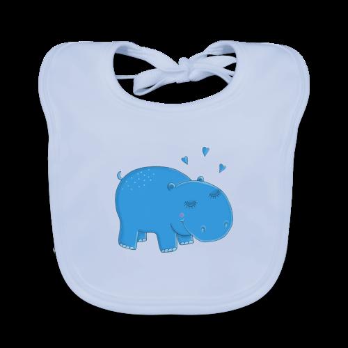 Kleines blaues Nilpferd - Baby Bio-Lätzchen