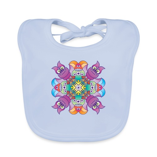 Halloween creatures posing for a colorful pattern - Organic Baby Bibs