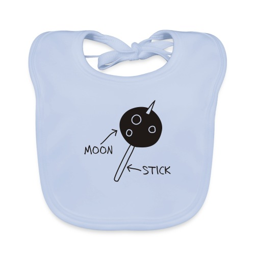 Moon on a Stick (white on dark background) - Organic Baby Bibs