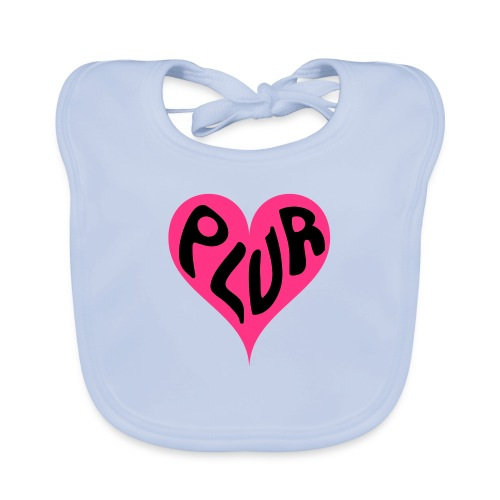 PLUR - Peace Love Unity and Respect love heart - Baby Organic Bib