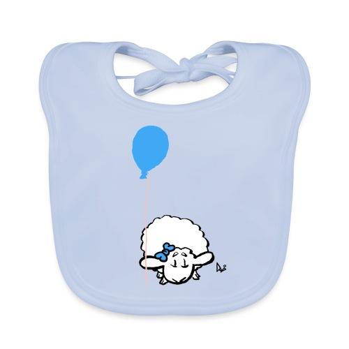 Corderito con globo (azul) - Babero de algodón orgánico para bebés