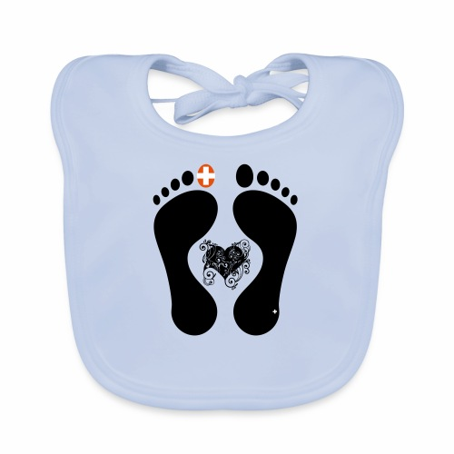 Barfuss-Logo mit komplizierter Herzgrafik - Baby Bio-Lätzchen