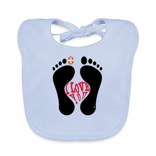 Barfuss-Logo i love you - Baby Bio-Lätzchen