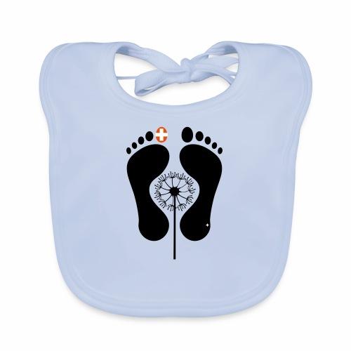 Barfuss-Logo mit Pusteblume - Baby Bio-Lätzchen