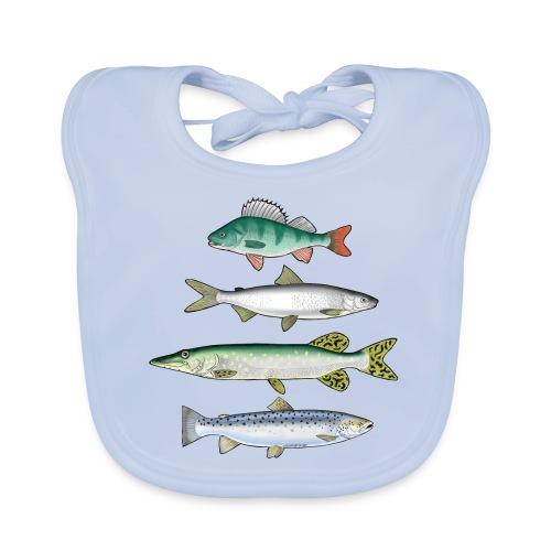 FOUR FISH - Ahven, siika, hauki ja taimen tuotteet - Vauvan luomuruokalappu