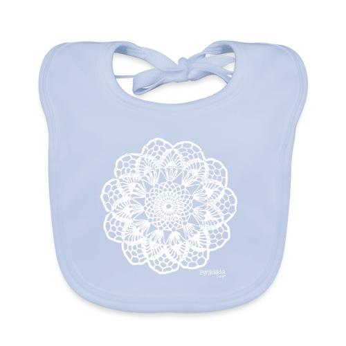 Granny´s Flower, valkoinen - Vauvan luomuruokalappu