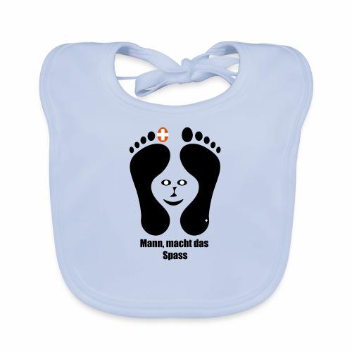 Barfuss-Logo das macht Spass mit Gesicht - Baby Bio-Lätzchen