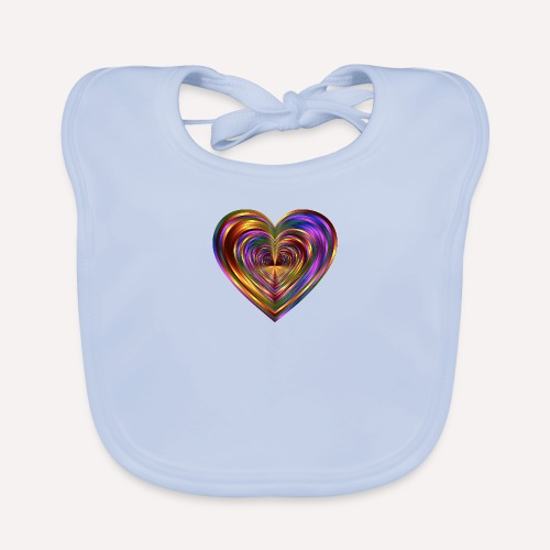Colorful Love Heart Print T-shirts And Apparel - Organic Baby Bibs