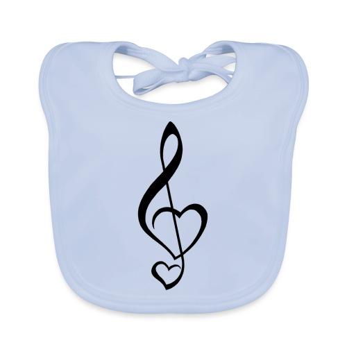 Notenschlüssel schwarz/Music-Lover - Baby Bio-Lätzchen