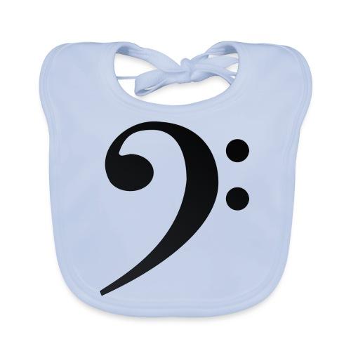 Silueta clave de fa en negro - Babero de algodón orgánico para bebés