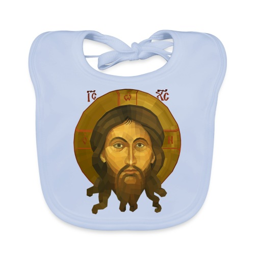 Jesus Christ Icon - The Mandilion Christ - Baby Organic Bib