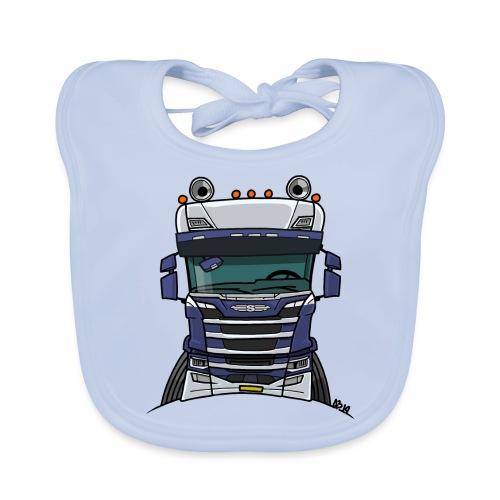 0814 S truck blauw wit - Bio-slabbetje voor baby's