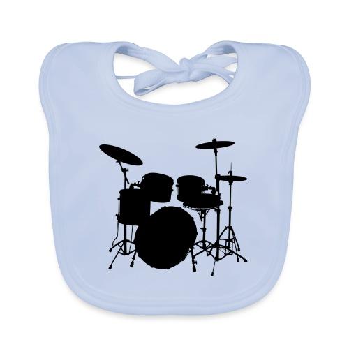 Bateria negro drums - Babero de algodón orgánico para bebés