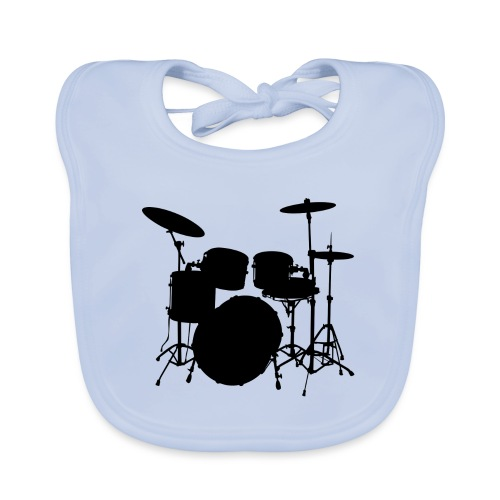 Drums in black - Babero de algodón orgánico para bebés
