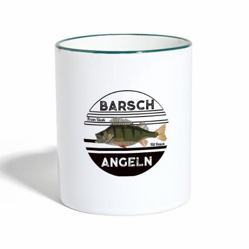 Retro Barsch angeln Schwarz - Tasse zweifarbig