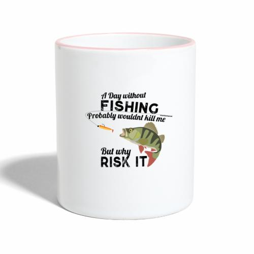 A Day without Fishing Angeln Fishyworm Bass Barsch - Tasse zweifarbig