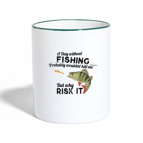 A Day without Fishing Angeln Fishyworm Bass Barsch - Tasse zweifarbig