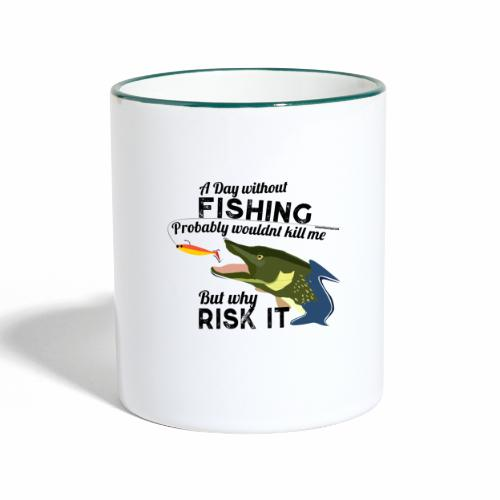 A Day without Fishing Hecht Pike Fishyworm Angel - Tasse zweifarbig