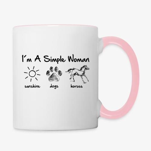 Vorschau: simple woman horse dog - Tasse zweifarbig