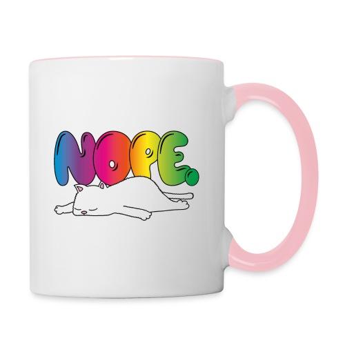 Tasse Nope Katze Lustiger Spruch Regenbogen - Tasse zweifarbig