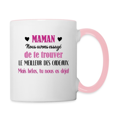 Maman, meilleur des cadeaux - Mug contrasté