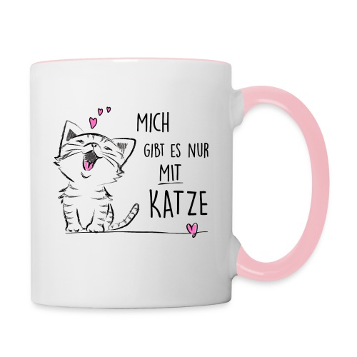 Vorschau: nur mit katze - Tasse zweifarbig