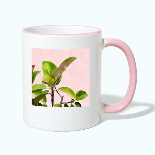 Rubber tree leaf minimalism watercolor - Contrasting Mug