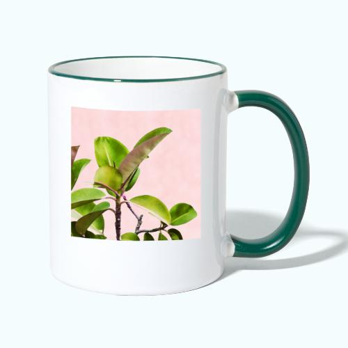 Rubber tree leaf minimalism watercolor - Contrasting Mug