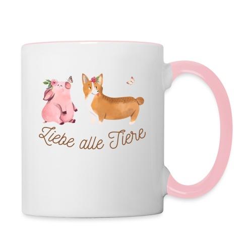Liebe alle Tiere - Tasse zweifarbig
