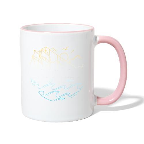 Schiff mit Sonne und Meer - Tasse zweifarbig