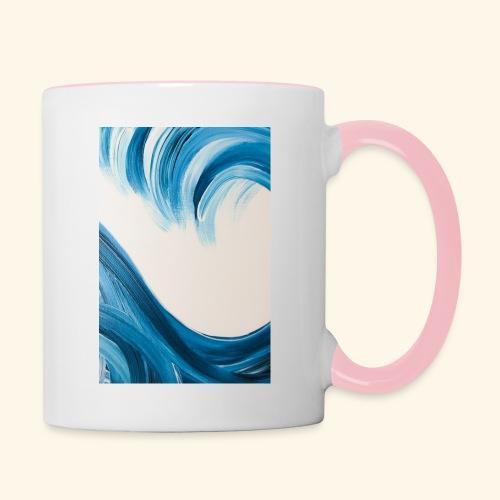 Große Welle hochformat - Tasse zweifarbig