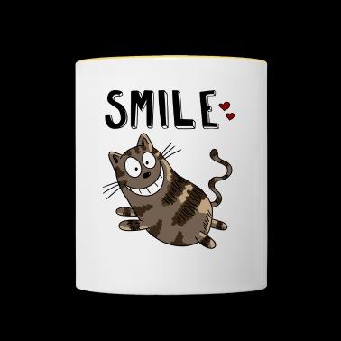 Smile Cheshire Cat - Cat - Koty - Heart - Kot - Kubek dwukolorowy