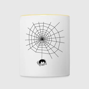 Spinne Spider Netz Spinnennetz Geschenk Idee Kind - Tasse zweifarbig