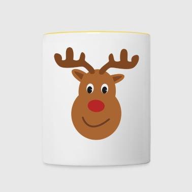 Rendiergeweien Rudolph rode neus - Mok tweekleurig