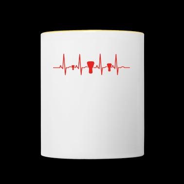 Heartbeat ewolucja ekg serca ludzkie bęben bongo - Kubek dwukolorowy