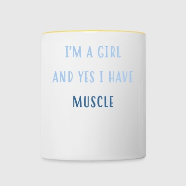 Weise. Mädchen. Heben. Muskelfrau - Tasse zweifarbig