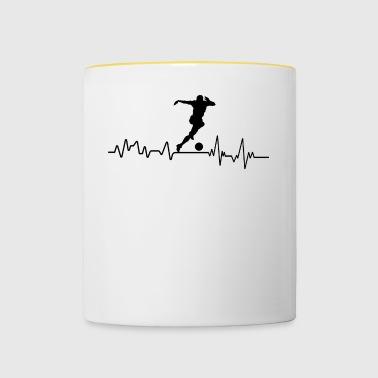 footballeur Heartbeat cadeau t-shirt Sports - Tasse bicolore